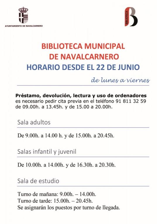HORARIO ESPECIAL BIBLIOTECA POR COVID-19