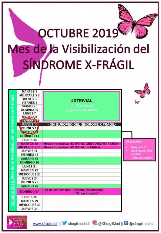 OCTUBRE DE 2019: MES DE LA VISIBILIZACIÓN DEL SÍNDROME X-FRÁGIL